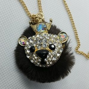 Charming Charlie Jewelry - NWT Charming Charlie Fuzzy Brown Bear Necklace